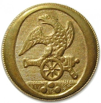 1808-21 Artillery 23mm Gilt Brass Alberts AY 52-B georgewashingtoninauguralbuttons.com o