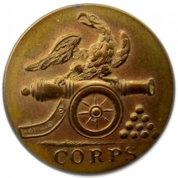 1835-40 Militia Artillery Federal Style 22mm Gilded Brass rj silverstein's georgewashingtoninauguralbuttons.com O 2