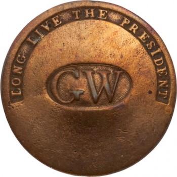 GWI 11-A 34mm Copper Cleaned Orig shank HA Auctions April 2015 Georgewashingtoninauguralbuttons.com O