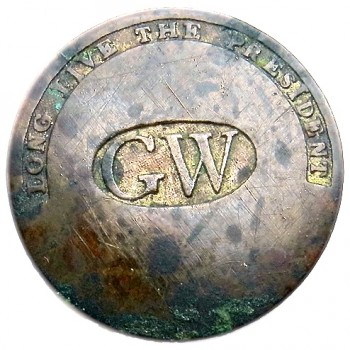 GWI 11-A GW IN OVAL CENTER BRASS 34.25MM R-1 1789 NO SHANK LYNN HARDING OUT HER KITCHEN DOOR AT 1777 Roscoe-Smith FARM HOUSE IN CORNISH, MAINE PD $720. 08-25-14 O1