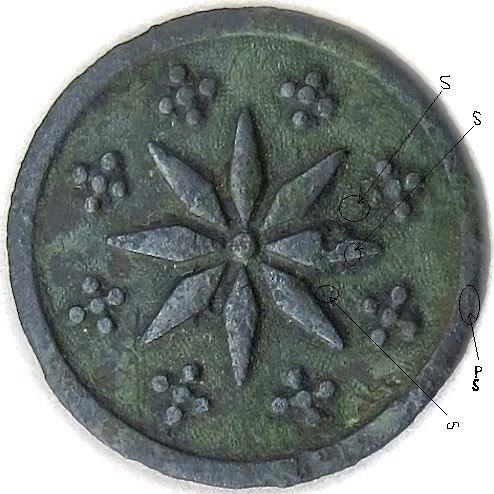 1778-83 8 Point Star Button Made By P Du Simitiere Robert Scot abc