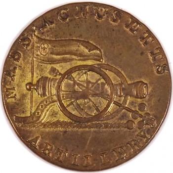 1800-25 Massachusetts Militia Artillery 23mm Brass Albert's MS18 RJ Silverstein's georgewashingtoninauguralbuttons.com O3