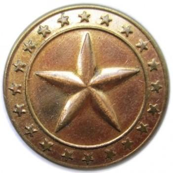 1830's Maine Militia 21mm Brass A Beveled 5 Point North Star georgewashingtoninauguralbuttons.com O1