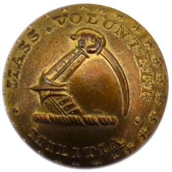 1837-40 Massachusetts Volunteer Militia 20.08mm Brass Orig Shank Albert's MS 33-A Tice MS204-A georgewashingtoninauguralbuttons.com O
