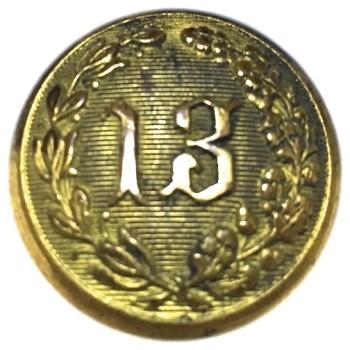 1850-60's New York Militia 13th Regiment AKA National Grays 22.90mm Gilt Brass NY230A.1 NY 49 Georgewashingtoninauguralbuttons.com O