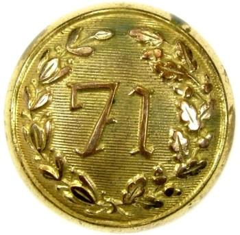 1852 71st Regiment New York Militia 22.77mm Gilt Brass Tice NY238A NY 61 georgewashingtoninauguralbuttons.com O