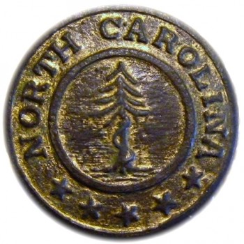1860-65 North Carolina 22mm Gilt Brass Confederate Local Albert's NC 12-A Snake coiled around pine tree:5 stars made at Sword Factory georgewashingtoninauguralbuttons.com O