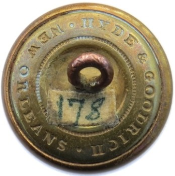 1860 Louisiana Militia 22mm Gilt Brass LA 204 A.2 : LA 3A Desirable B :M Orig Shank PD $400 1-23-16 RJ Silversteins georgewashingtoninauguralbuttons.com R