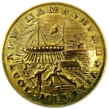 1860 NEW HAMPSHIRE 23mm Gilt Brass 2-Part NH 200C.1 rj silverstein georgewashingtoninauguralbuttons.com O