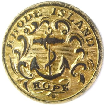 1860 Rhode Island State Militia 22.9mm Gilt Brass TICE's RI203C.1 RI 8 RJ Silversteins georgewashingtoninauguralbuttons.com O