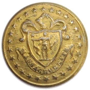 1865-Post Massachusetts Militia Independent Corps of Cadets 23.23mm Gilt Brass MS 202C.1 - MS 30 georgewashingtoninauguralbuttons.com O