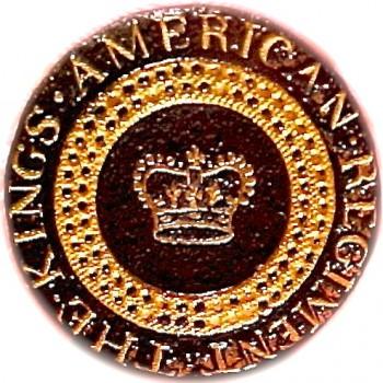 LOYALIST BUTTON CHRIS FINDYMANS KINGS AMERICAN REGIMENT OFFICERS LB-13 GILT 25. copy