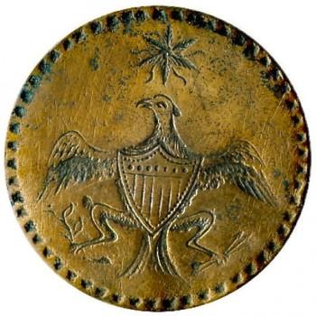 WI 12-B 35mm Brass Orig Shank RJ Silverstein's georgewashingtoninauguralbuttons.com O