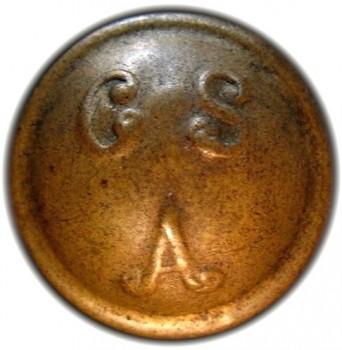 Confederate CS over A 17mm Brass High Convex RJ Silverstein's georgewashingtoninauguralbuttons.com O