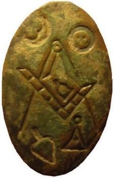 1700's Mason fraternity Cuff Button Gilt Brass RJ Silverstein's georgewashingtoninauguralbuttons.com O