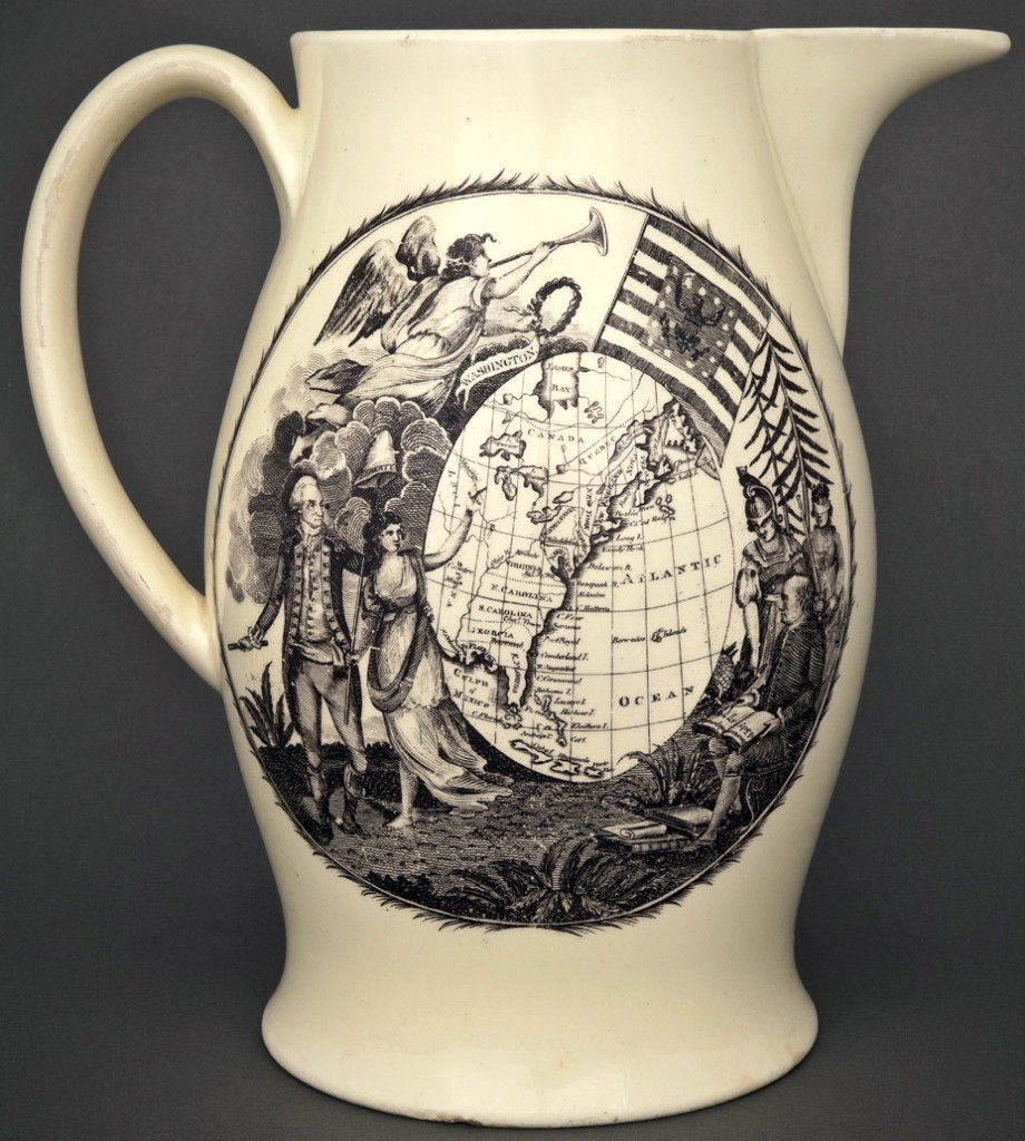 1790-1810 Jug With Map RJ Silverstein's georgewashingtoninauguralbuttons.com O
